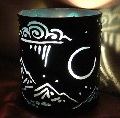 Crescent Moon  candle holder  Recycled tin by SantaFeMoonLights, $29.00