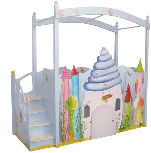 himmelbett f r kleine meerjungfrau hochbett mit unterwasserschloss und seepferdchen zauberhaft. Black Bedroom Furniture Sets. Home Design Ideas