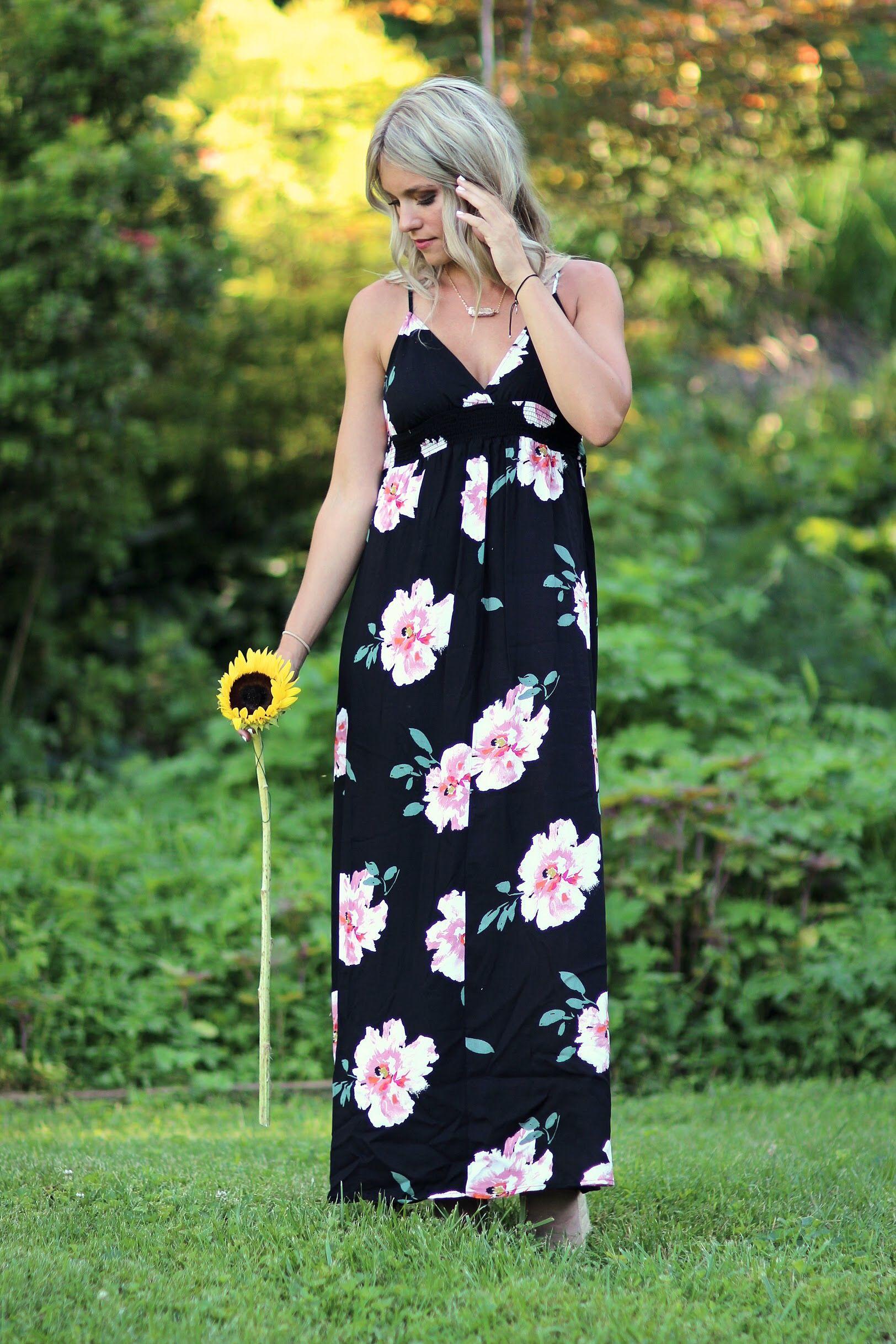 Black floral maxi dress floral dress boho womenus style womenus
