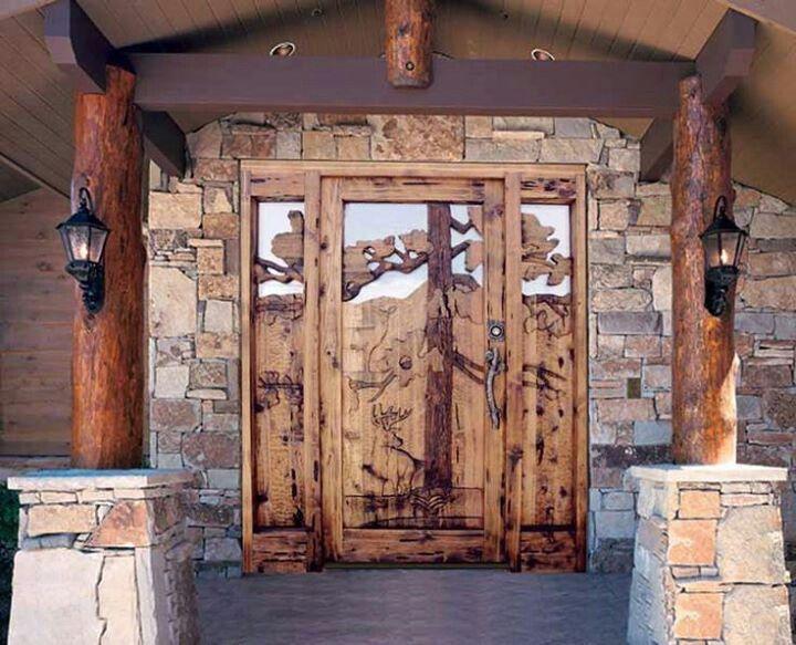 Front Door Log Cabin Carved Doors