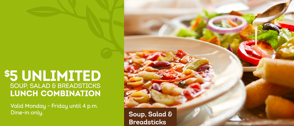 Olive Garden Unlimited Soup, Salad and Breadsticks ONLY