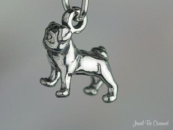 Miniature Sterling Silver Pug Charm Pugs Very Small Tiny 3d Solid