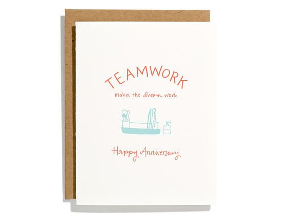 team work anniversary letterpress love card cl273