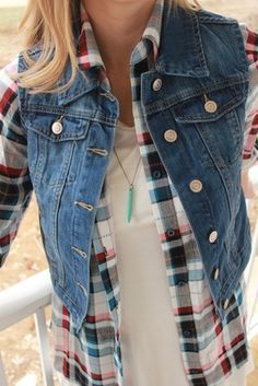 428fc9b3aa69 Denim vest outfit with plaid top and turquoise necklace! What's not to  love?!? It's the beginning of Summer and I'm now dreaming of Fall! ~ Ali