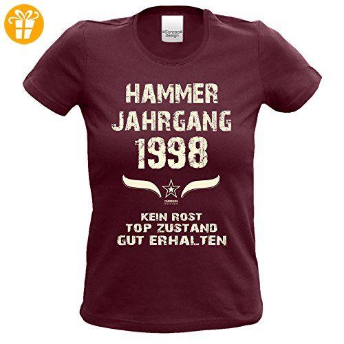 Geschenk zum 19. Geburtstag Hammer Jahrgang 1998 : Damen Frauen Mädchen Girlie  Kurzarm T-