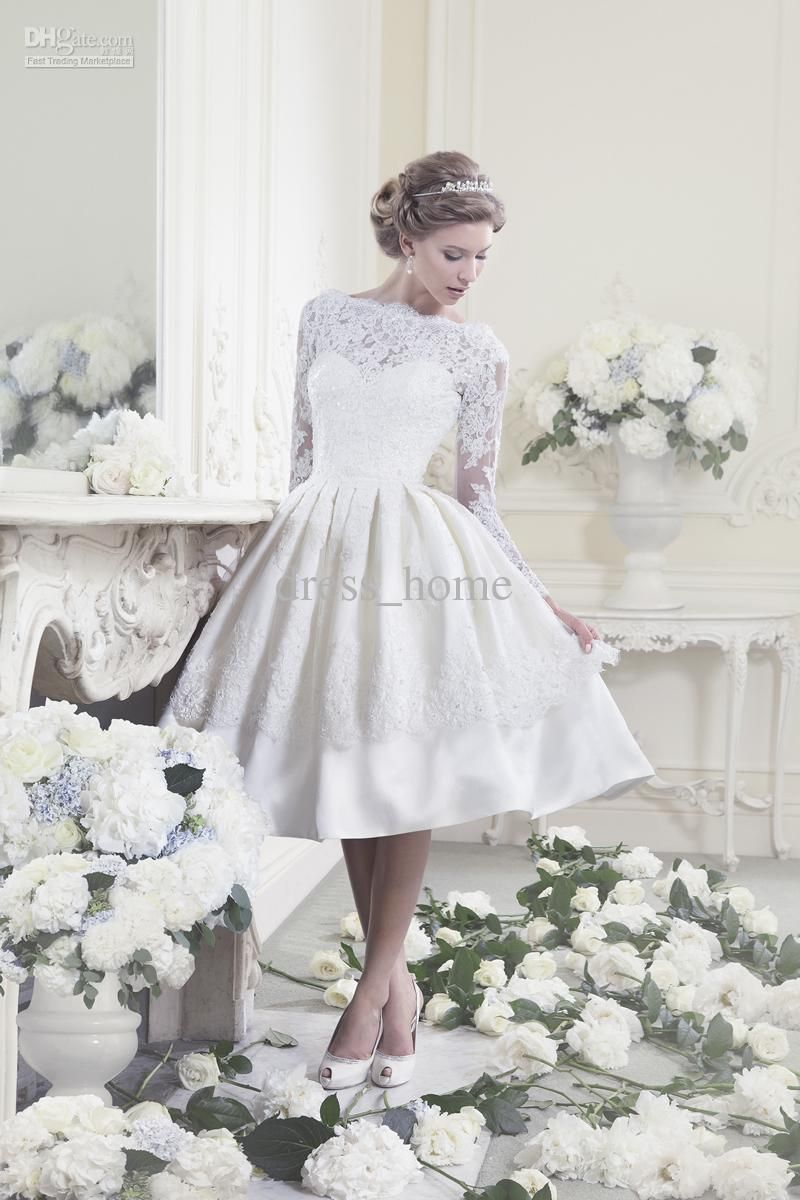 26ac4c22ab9 Wholesale a line tea length white satin lace long sleeve garden bridal  gowns beach wedding dresses short wedding gowns