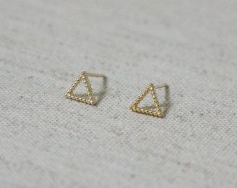 10K Gold tiny hollow triangle stud earrings, solid Gold, 10k real Gold