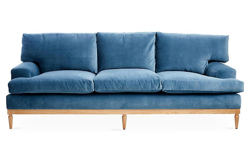 Sutton Sofa Harbor Blue Velvet Blue Velvet Couch Blue Velvet