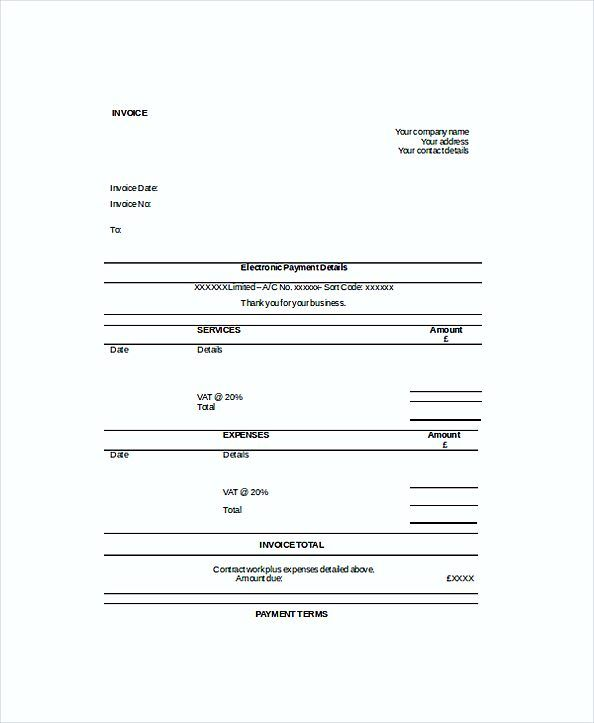 Self Employed Work Invoice templates , Work Invoice Template - invoice for self employed