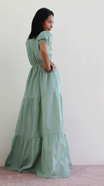 Sage bridesmaids dress cap sleeve maxi dress long by nuichan