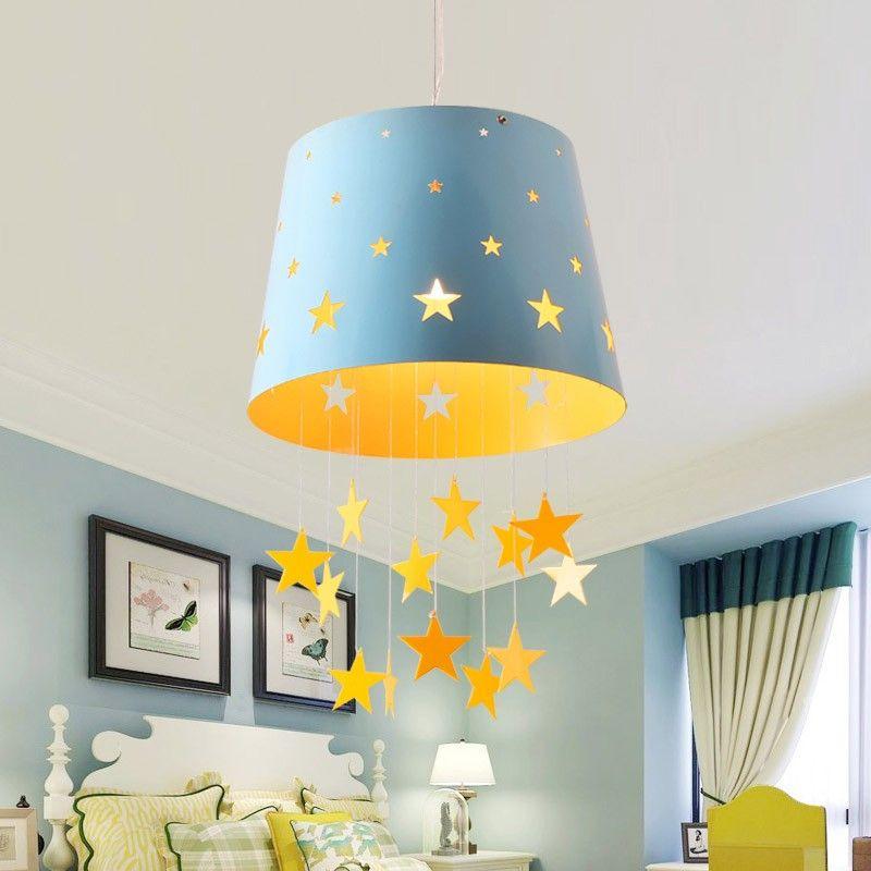 Modern 1 Light Adorable Pierced Star Blue Pink Hanging Drum Shade Kids Room Pendant Light Lighting Kids Room Lighting Drum Shade Kids Chandelier