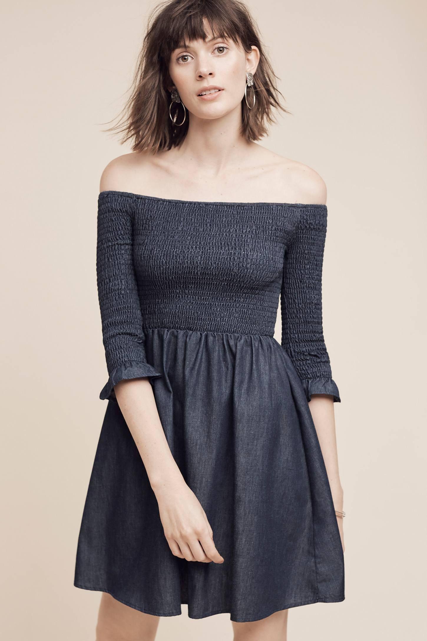 Smocked OffTheShoulder Denim Dress Dresses, Denim