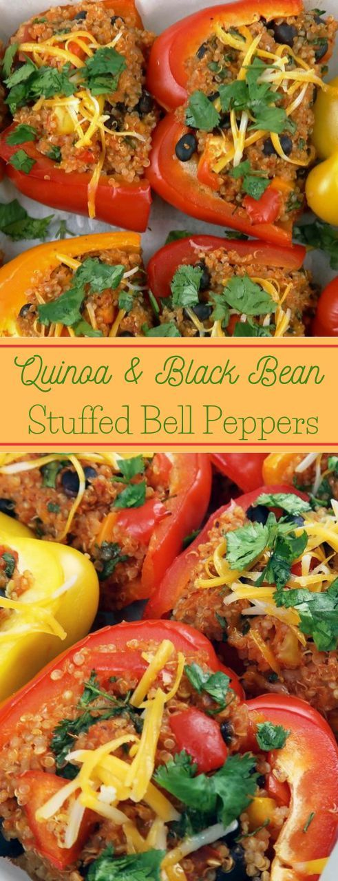 QUINOA AND BLACK BEAN STUFFED BELL PEPPERS #vegetarian #black #quinoa #cauliflower #mushroom #bellpeppers