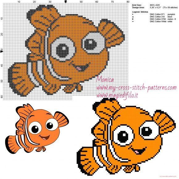 Nemo (Finding Nemo) cross stitch pattern | Cross stitch