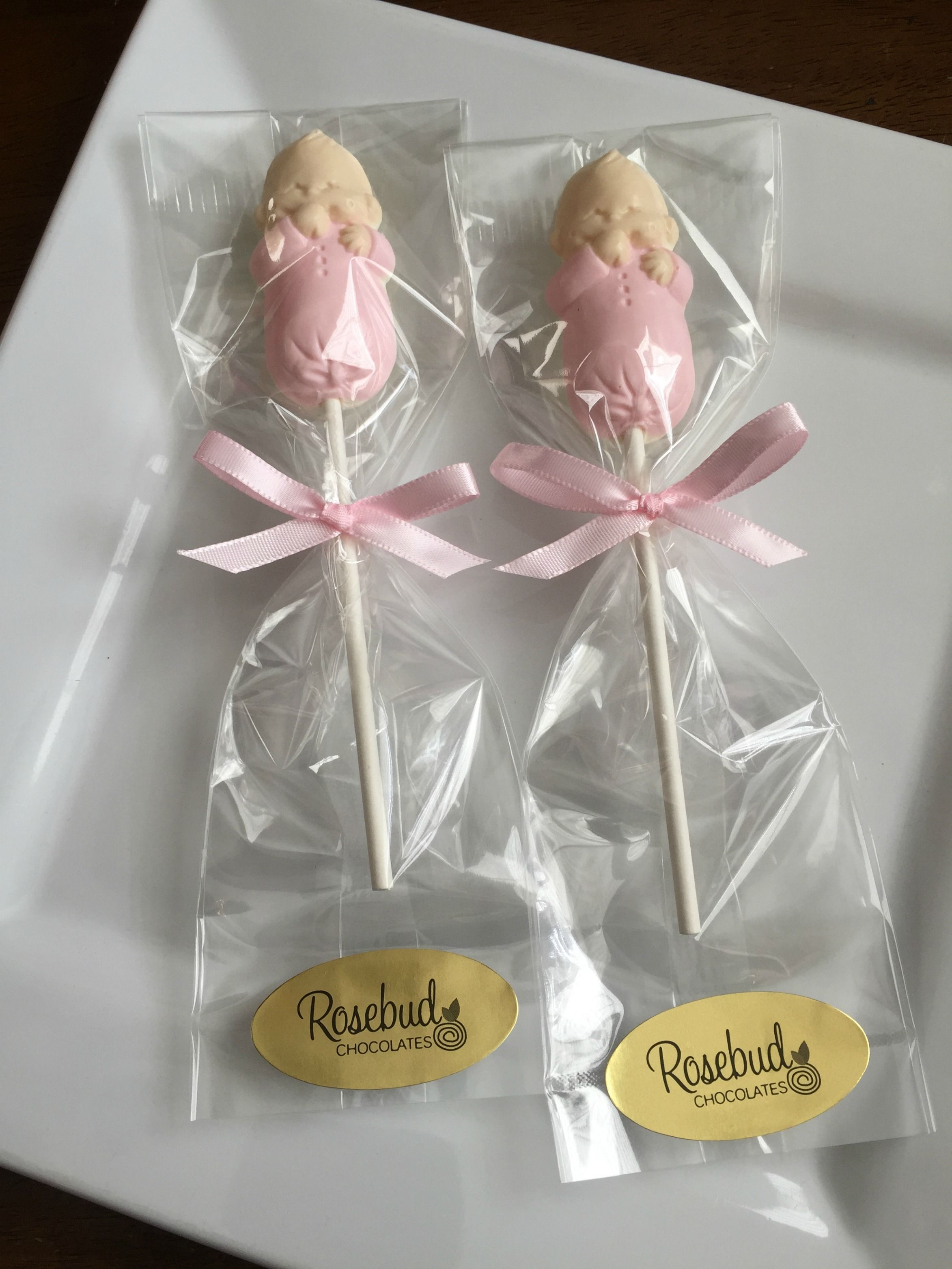 Its A Girl white chocolate lipops Pink Baby Shower Candy