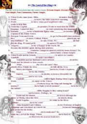 English worksheet: The Lord of the Rings. Revising Tenses ...
