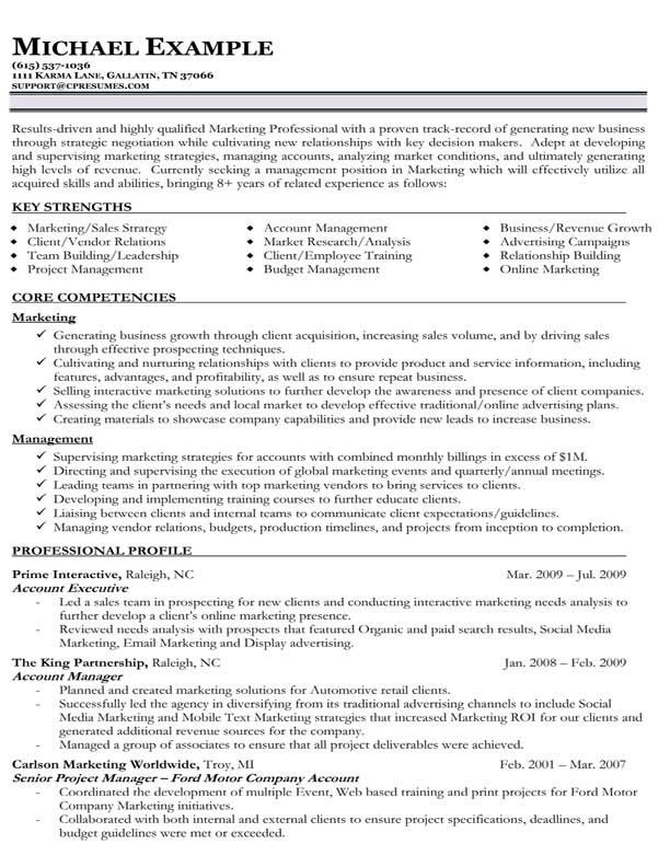 Resume Examples Key Strengths Resume format examples, Sample