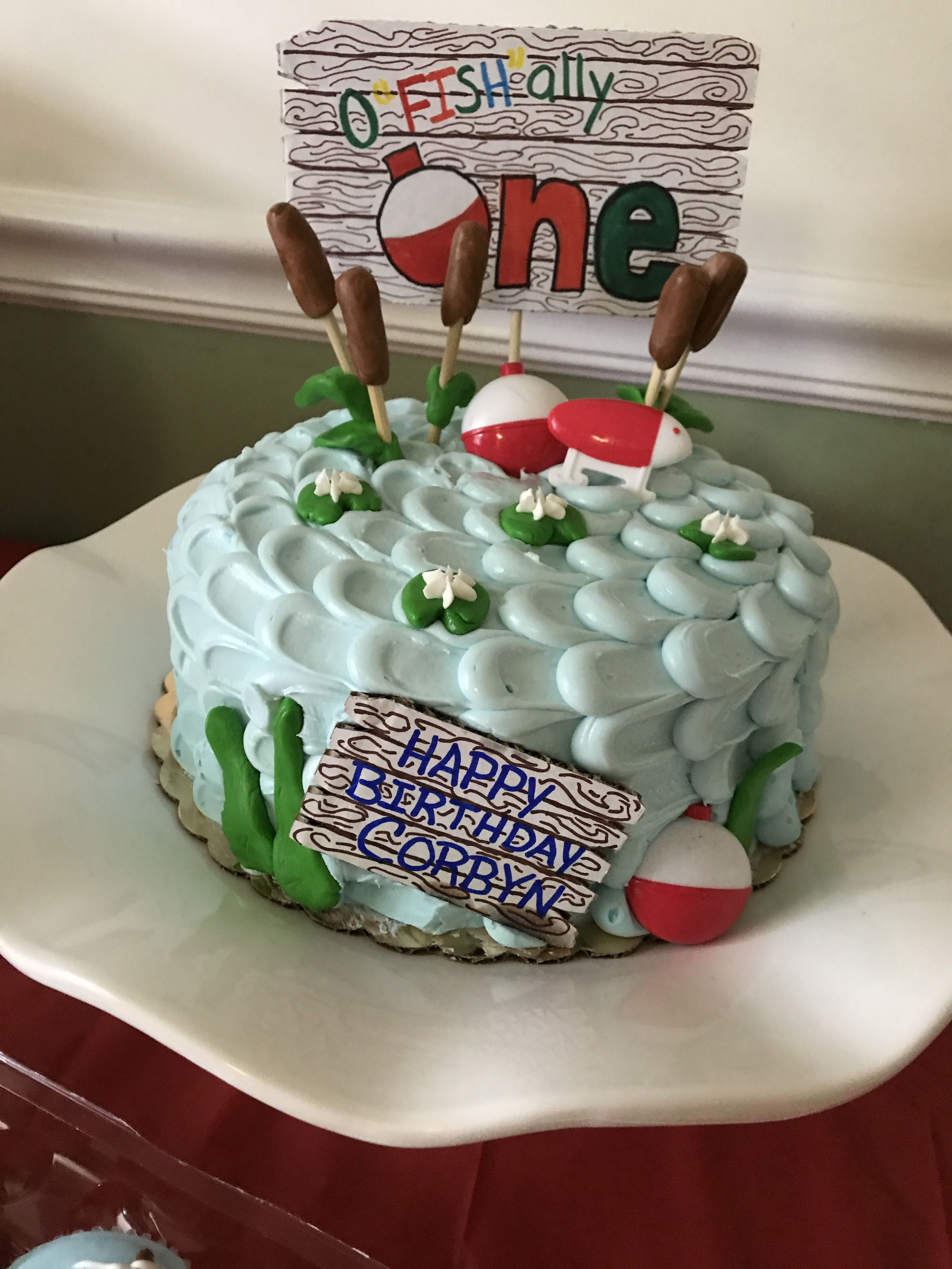 Terrific The Big One Fishing Themed Birthday Cake With Images Birthday Funny Birthday Cards Online Eattedamsfinfo