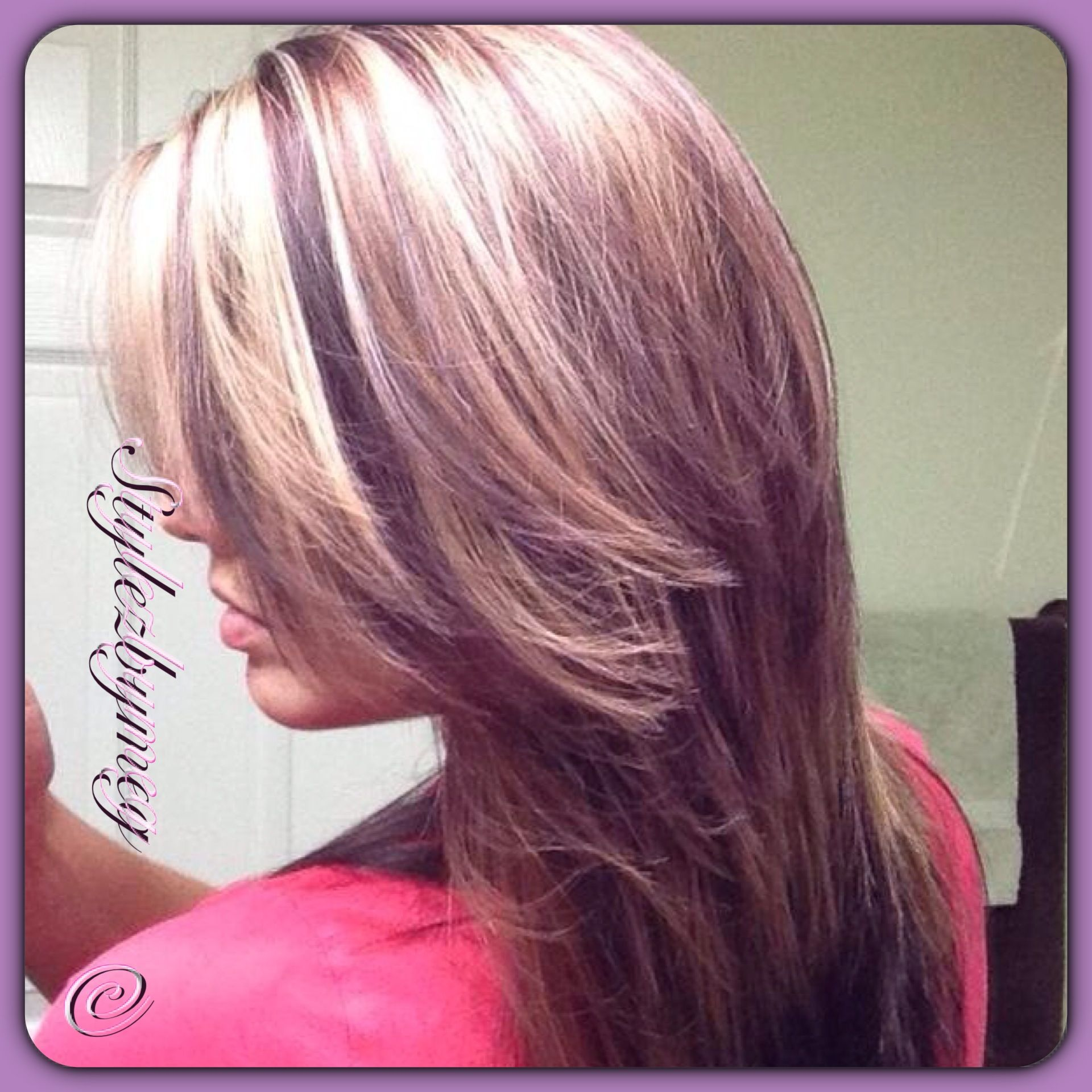 Dark Red Violet Medium Chunky Lights And Heavy Highlights With
