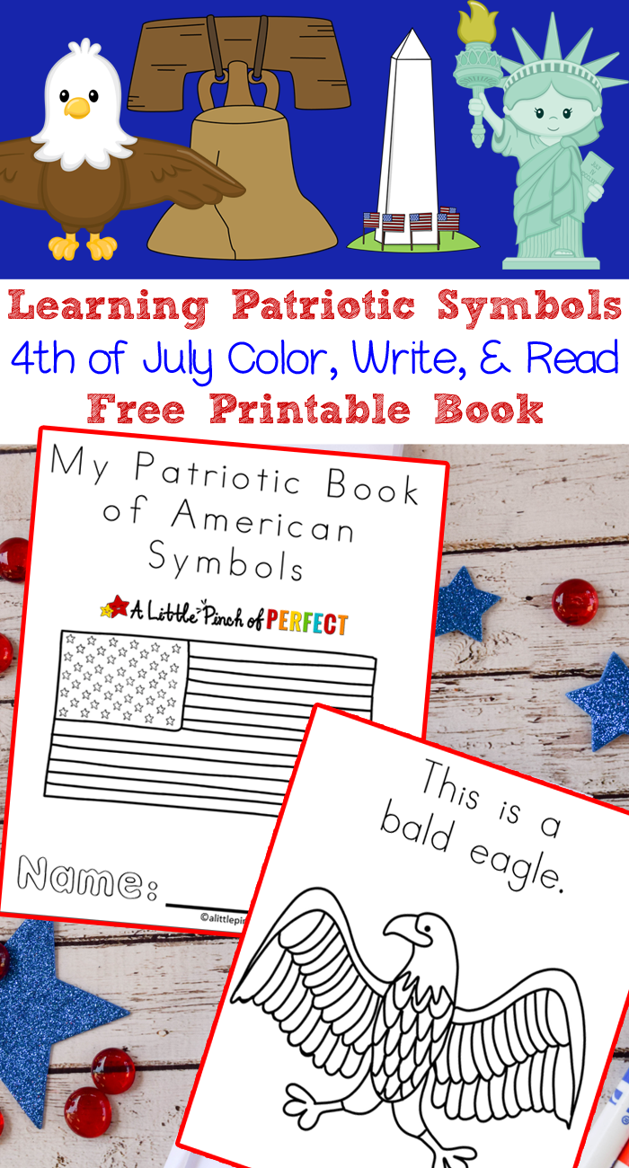 Learning Patriotic Symbols Free Printable 4th of July Book -   American  symbols kindergarten [ 1300 x 700 Pixel ]