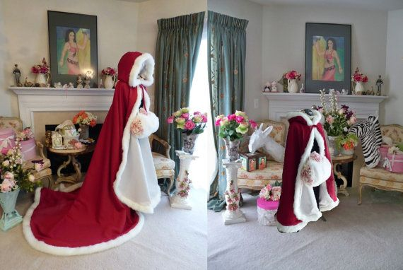 """RESERVED Custom listing for """"Bridget G"""" Family Pack 2 Claret / Ivory Satin Bridal Capes & 8 Muffs Handmade in USA ============== All Capes are Hand-Made by: Cape & Crown Creations Located in the USA ============ All Capes are Hand-Made by: Cape & Crown Creations Located in the USA https://www.etsy.com/shop/capeandcrown13"""