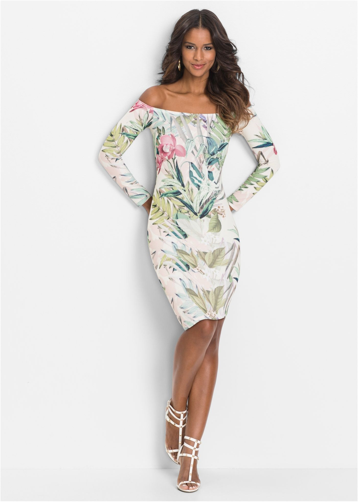 ec44f1f0e5e3 Schulterfreies Kleid weiss twill grün geblümt - BODYFLIRT boutique jetzt im  Online Shop von bonprix