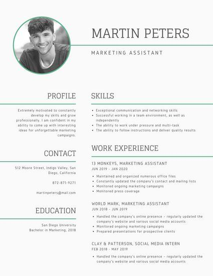 Mint Green Lines Photo Modern Resume Resume Templates Pinterest