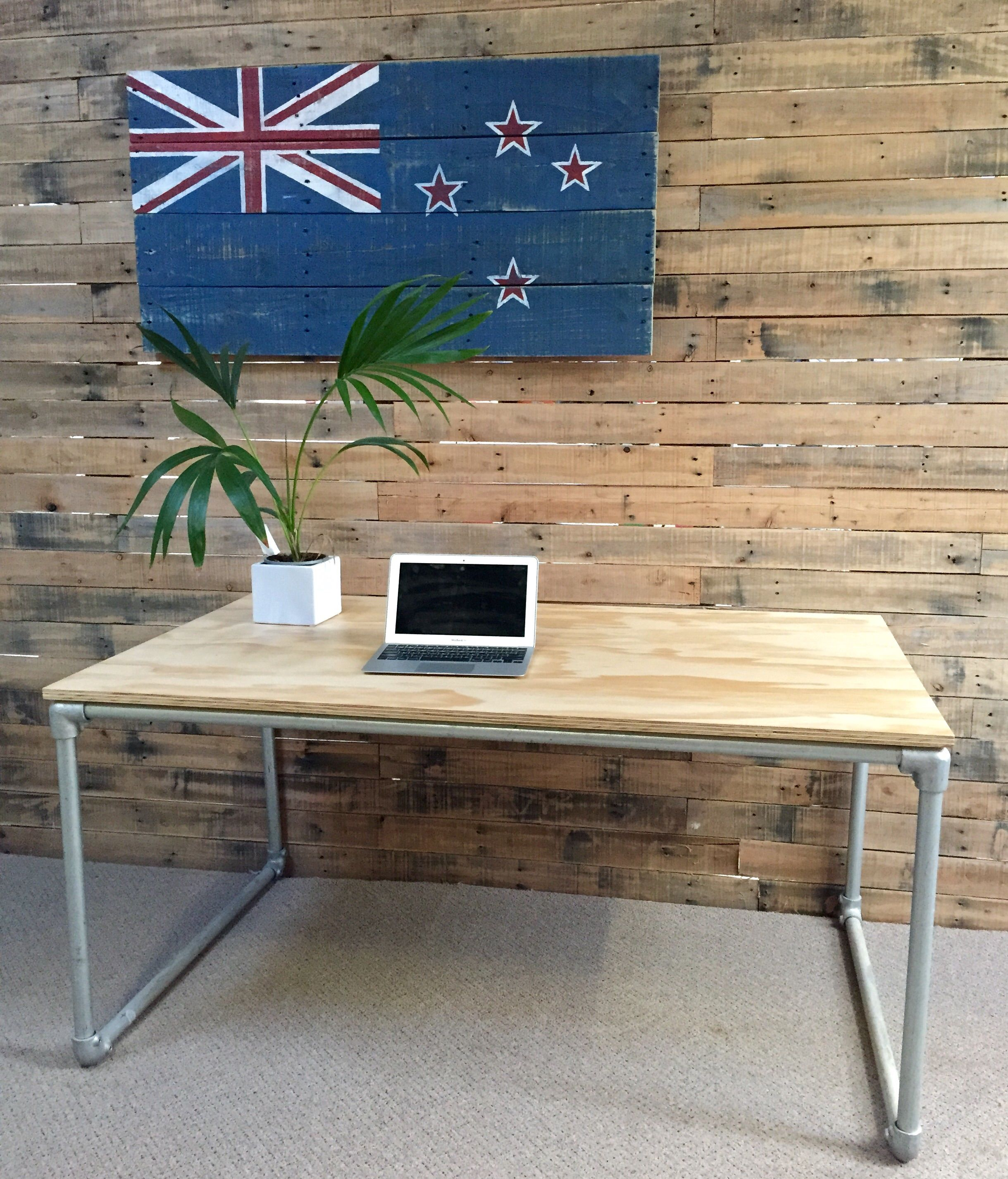 Galvanized pipe furniture. Plywood and galvanised pipe desk made by Industrial Design NZ  A