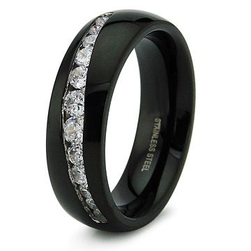 Black Mens Wedding Bands Mens Black Fancy Steel Cz Wedding Band