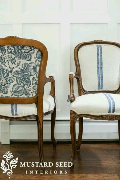 The French Twins   Grain Sacks Upholstery Chairs Classic Miss Mustard Seed
