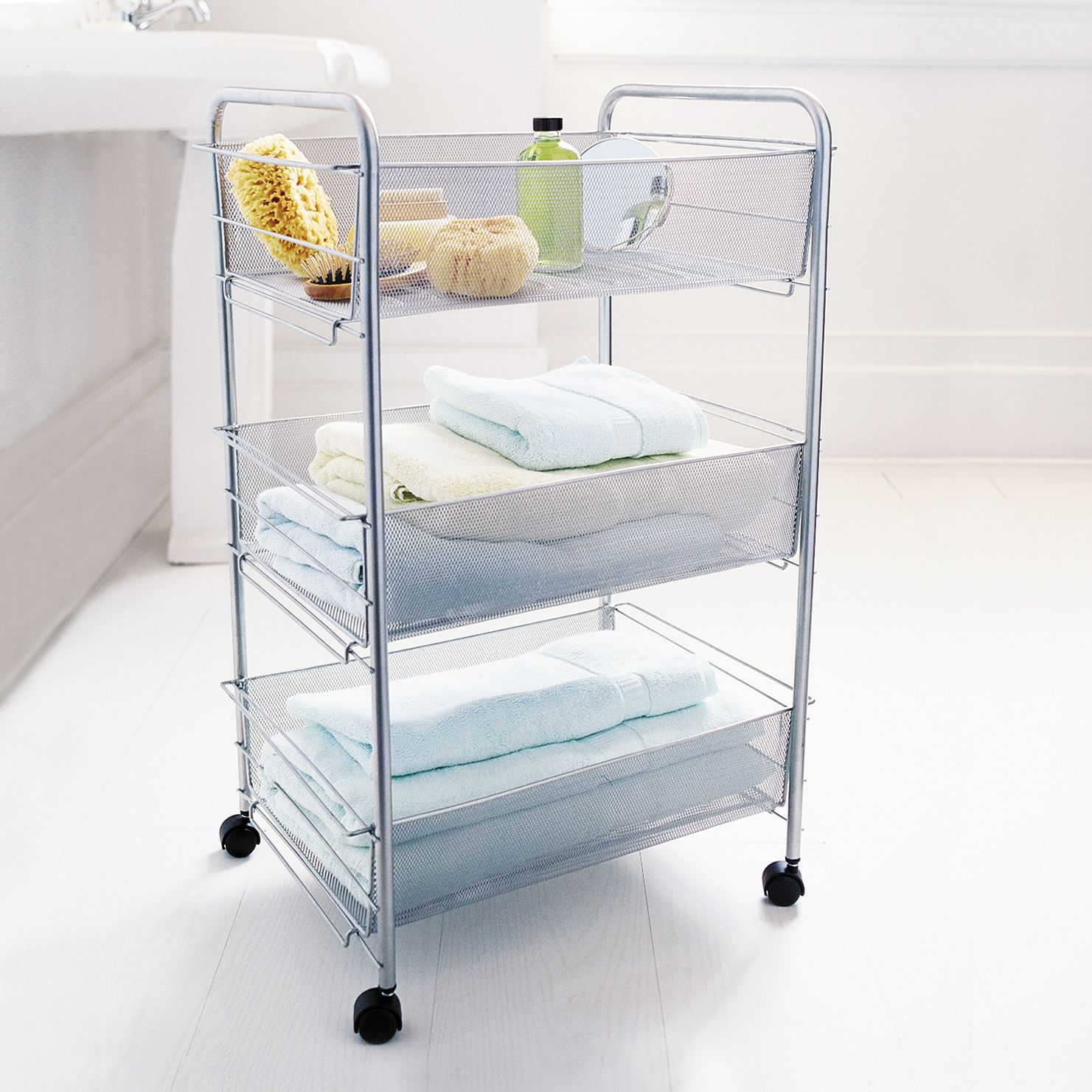 What About Something Like This Tucked Away Under Your Desk Mesh Mesmerizing Small Bathroom Cart Design Ideas