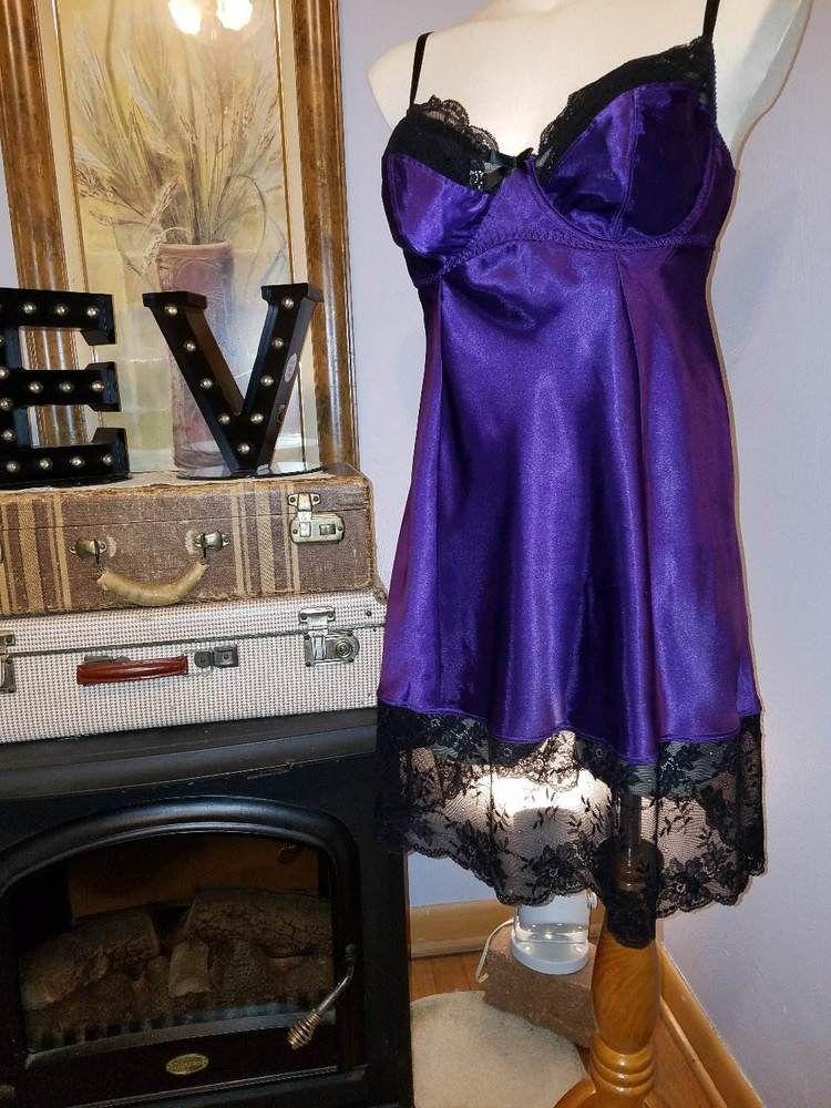 CACIQUE Black Lace Bra Purple Liq Satin Chemise Babydoll Nightgown 14 16   Cacique  BabydollChemiseNIghtgownNighty  Everyday 503ec9c47
