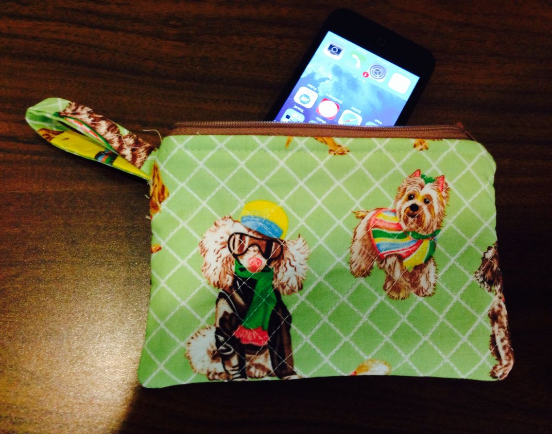 Cute little quilted puppy cell phone wristlet I made