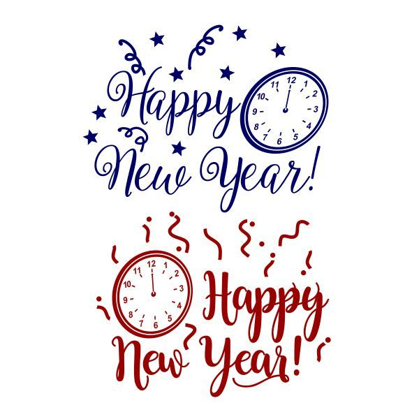 Happy New Year Clock Cuttable Design Cut File. Vector, Clipart, Digital Scrapbooking Download, Available in JPEG, PDF, EPS, DXF and SVG. Works with Cricut, Design Space, Cuts A Lot, Make the Cut!, Inkscape, CorelDraw, Adobe Illustrator, Silhouette Cameo, Brother ScanNCut and other software.