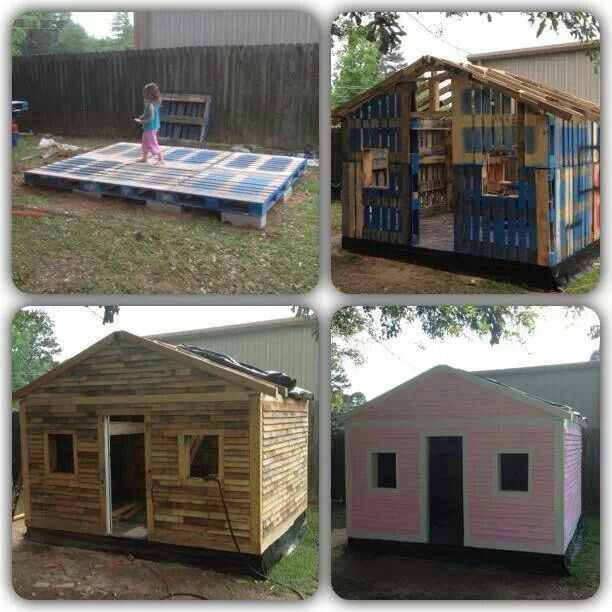Cute cabin out of pallets. My daughter and I will fight for this space. It might have to be 3-stories, so her brother can have some space, too. Hmmm...
