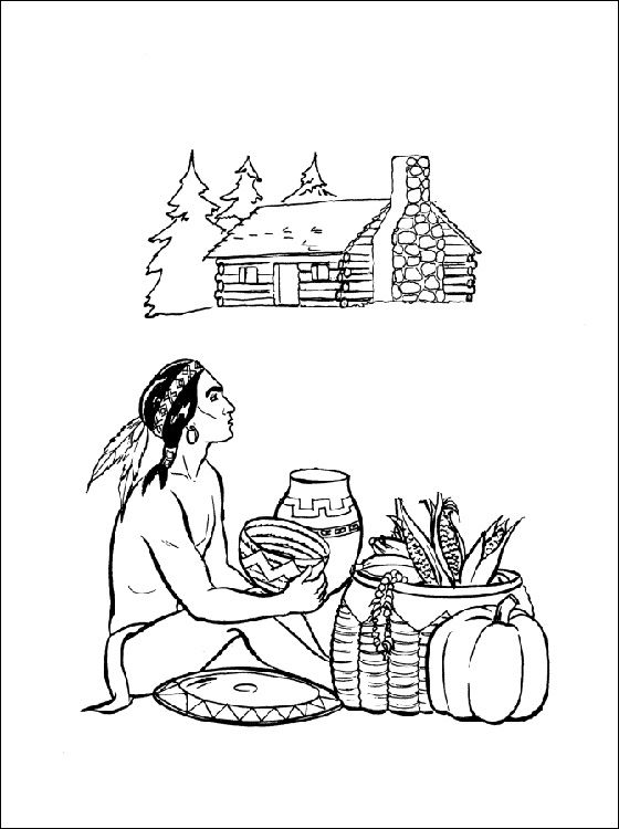 thanksgiving coloring pages | Thanksgiving Indian Coloring Pages ...