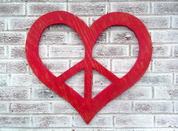 """Peace Sign Bedroom Accessories: PEACE SIGN In A Heart Shape! Huge 24"""" Wood Peace Sign"""