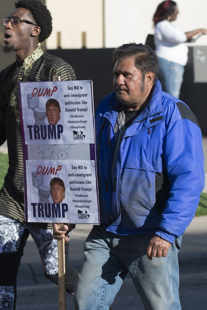 Anti-Trump message at a workers and immigrant rights march