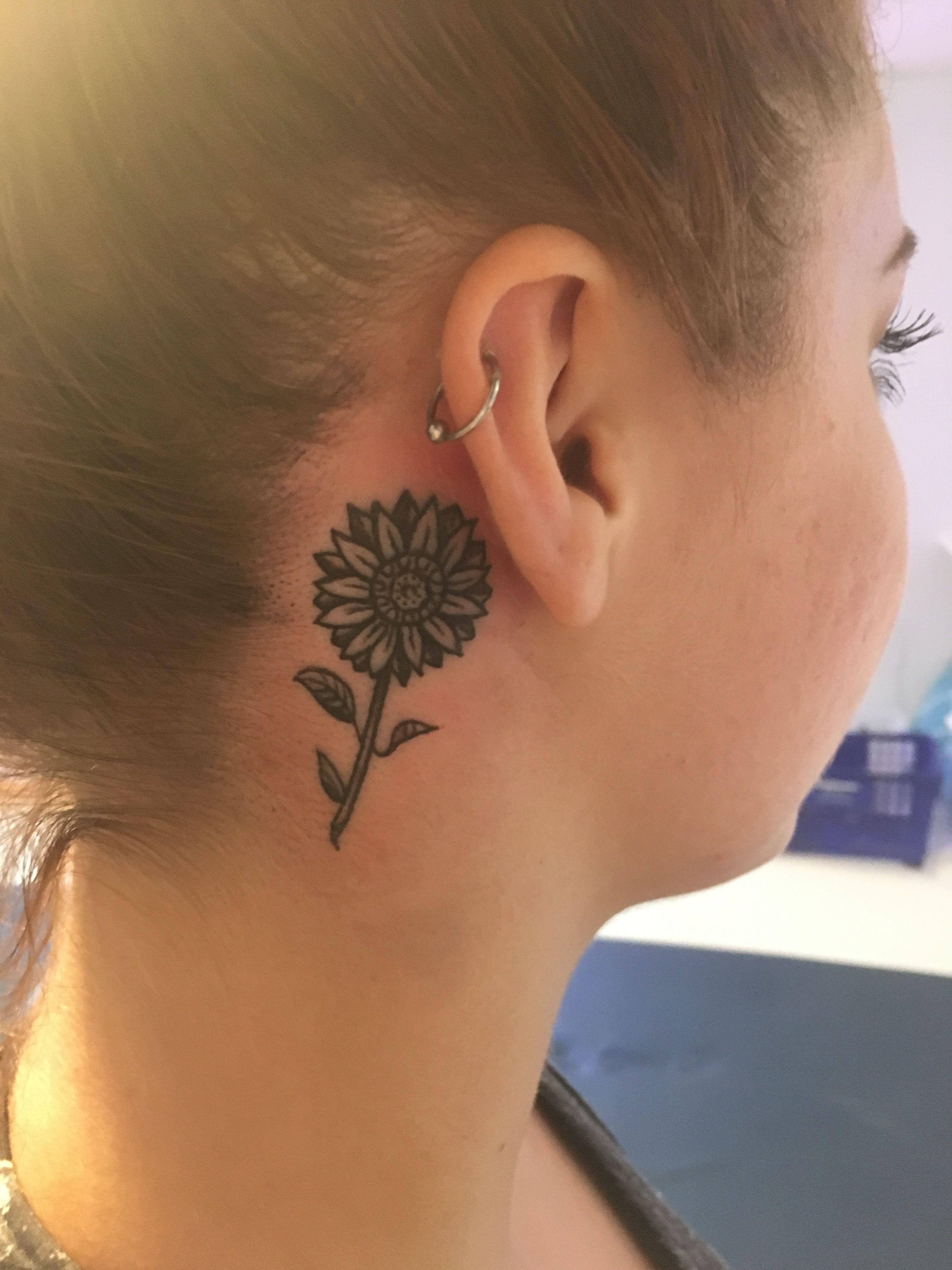Sunflower Behind The Ear Tattoo Sunflower Tattoo Sunflower Tattoo Shoulder Sunflower Tattoo Sleeve