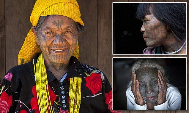 The tattooed women of Burma: Extraordinary photographs show elaborate facial inkings of the tribe whose traditions are dying out