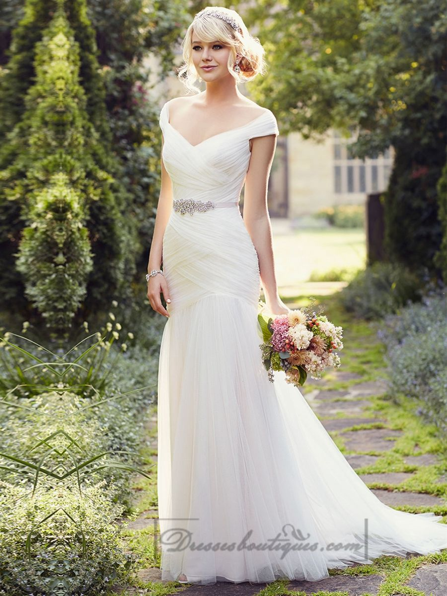 Cap Sleeves Layers Of Soft Ruching Wedding Dresses Beach Wedding