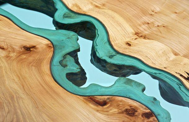 Эксклюзивный стол с фигурным стеклом, дерево, дерево в интерьере, массив, изделия из дерева, изделия из массива, Бигвуд