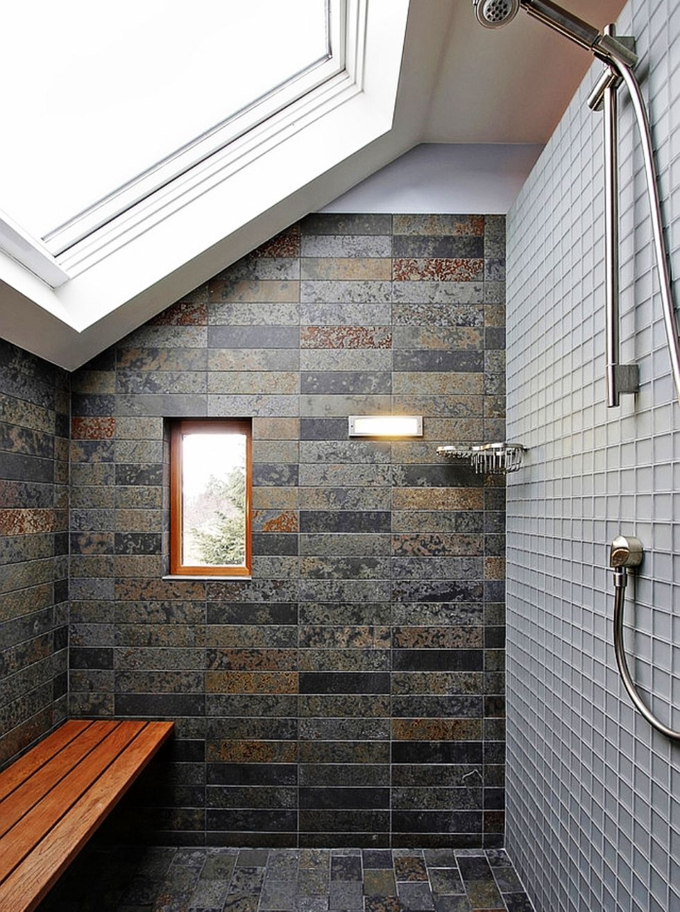 27 Incredible Raw Stone Bathroom Design Ideas: Bathroom: Small Shower Corner With Ample Natural Light Of