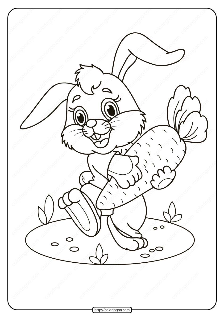 Printable Rabbit With Carrot Pdf Coloring Page Coloring Pages Cool Coloring Pages Coloring Books