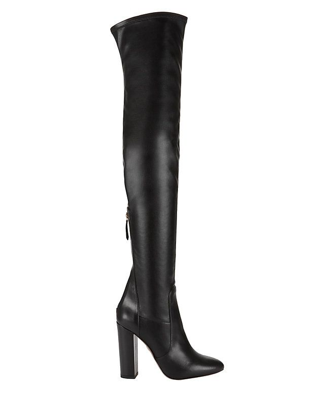 Aquazzura Thigh-High Stretch Leather Boot: Black: Stretch leather lends  shapely form to