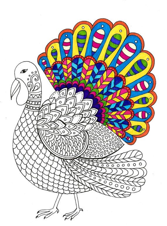 Turkey Thanksgiving Coloring page Instant PDF