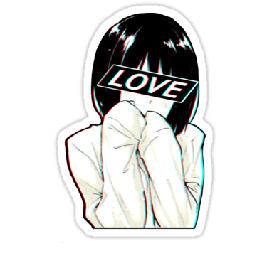 LOVE Sad Japanese Aesthetic | Sticker | Laptop stickers in