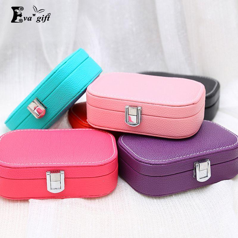 Colorido mini Organizador de La Joyería caja de joyería de cuero caja de vestir princesa regalo de cumpleaños Pendiente y Anillo colección de viaje Ataúd