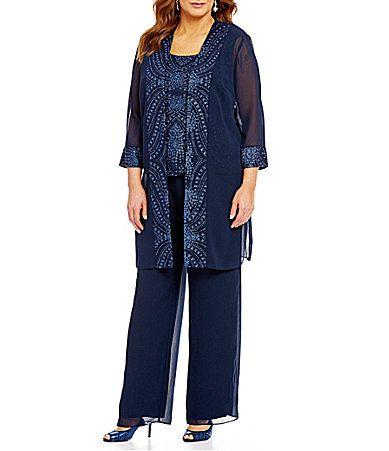 Le Bos Plus 3piece Glitterembellished Evening Pant Set Dillards
