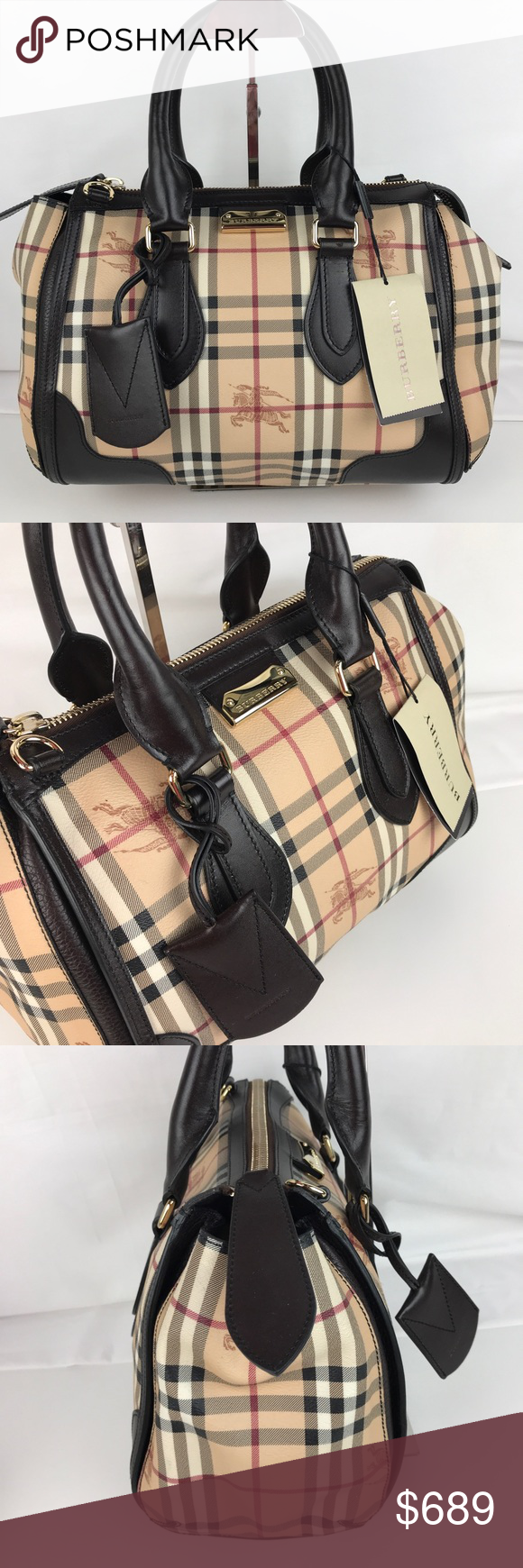 836ee651d7e1 Burberry Plaid Gladstone Chocolate Tote 3870759 Authentic Burberry Style  3870759. New